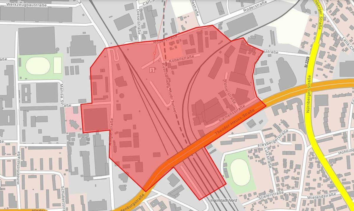 Evakuierungsgebiet, © Stadt Ingolstadt